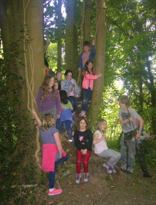 Young children having fun in the woods during Holiday Club