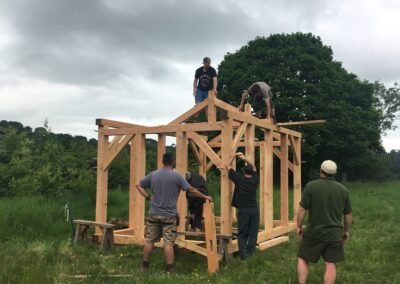 Erecting the timber-frame